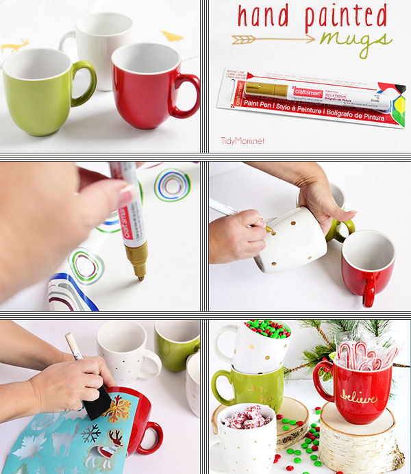 DIY Hand Painted Holiday mugs