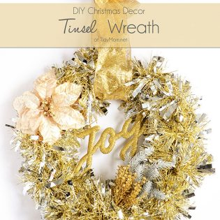 DIY Christmas Decor - Make this easy Tinsel Wreath in under 15 minutes and no glue required! Tutorial at TidyMom.net