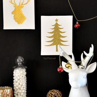 Easy Gold and White Christmas Wall Art at TidyMom.net