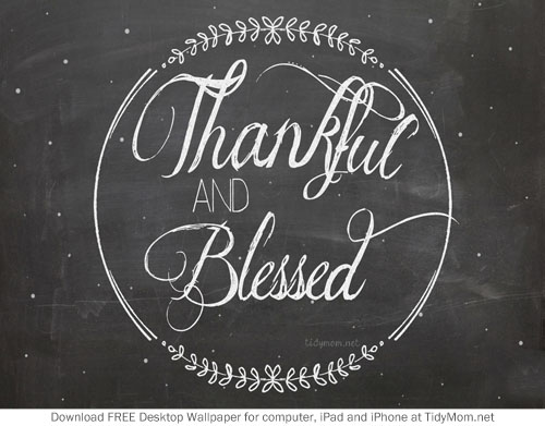 Thankful and Blessed November Chalkboard Wallpaper for Desktop, iPhone and iPad.  Free download at TidyMom.net