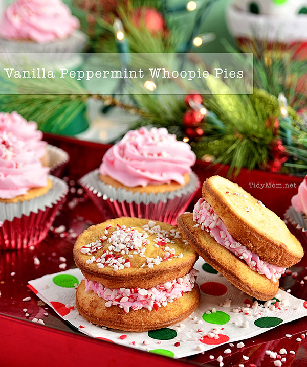Vanilla Peppermint Cupcake & Whoopie Pie recipe at TidyMom.net #HolidayIdeaExchange