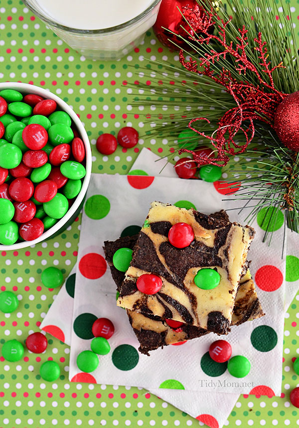 A swirl of cheesecake turns plain brownie mix into something special. Marbled Brownies are holiday ready with M&Ms® Brand Chocolate Candies on top.