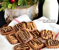 Chocolate Peanut Butter Shortbread Bites.  #cookies recipe at TidyMom.net