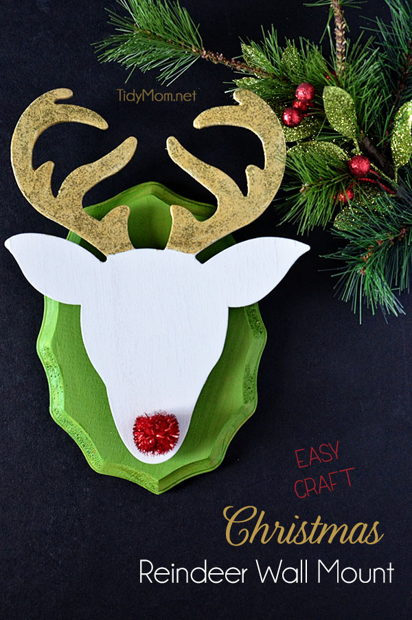 DIY Christmas Reindeer Wall Mount  at TidyMom.net  Super easy craft (no tools needed) for #Christmas