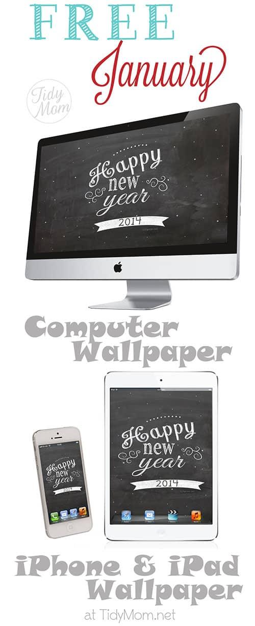 FREE January New Year Chalkboard Wallpaper at TidyMom,net