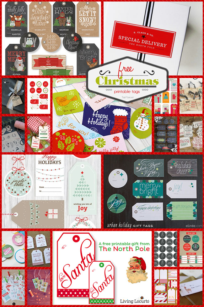 All of these free, printable Christmas tags can be printed right from your home computer, cut out, and then attached to your gifts. visit TidyMom.net for more!