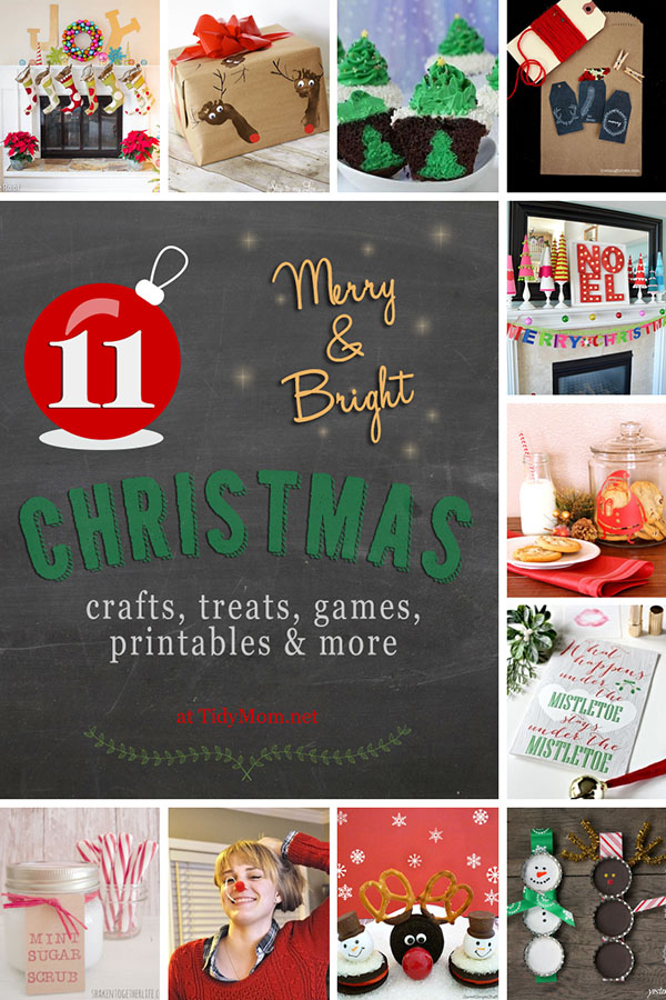 Merry & Bright #Christmas crafts, treats, games, printables and more! at TidyMom.net