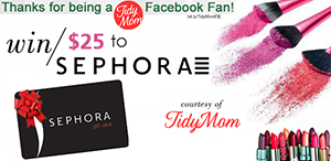 Thanks for being a TidyMom Facebook Fan! Enter to Win Sephora Gift Card