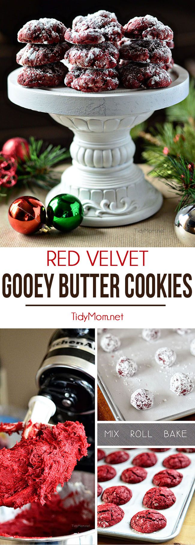 This holiday cookie hit starts with a boxed cake mix, making them so simple you'll have no excuse not to make them! Add Red Velvet Gooey Butter Cookies to your holiday cookie tray and gift list this year! recipe at TidyMom.net
