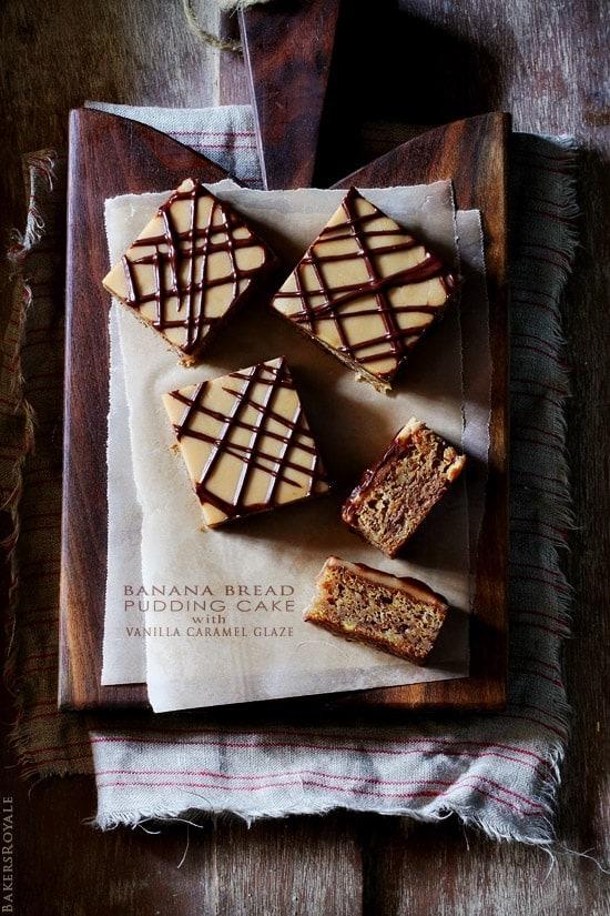 Peanut Butter Banana Bread Pudding Cake recipe at BakersRoyale.com
