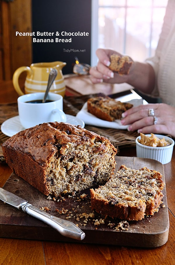 Just when you thought banana bread couldn't get any better! PEANUT BUTTER BANANA BREAD will be gone in no time! Very ripe bananas, chocolate chips and peanut butter take this moist quick bread to a whole new level of delicious! get the recipe at TidyMom.net