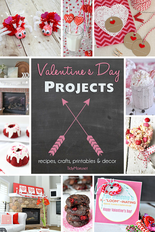 Valentines Day Projet Ideas.  Recipes, crafts, printables, decor and more at TidyMom.net
