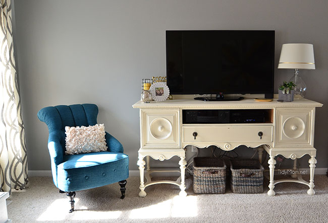 Gray family rroom make-over progress with repurposed buffet turned media cabinet at TidyMom.net