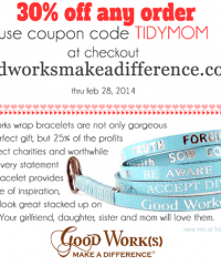Coupon Code TidyMom Good Works Bracelets