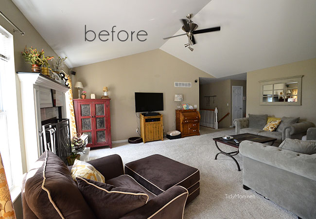 Mismatched Family Room (pre-makeover) at TidyMom.net