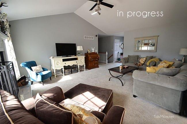 Gray and yellow Familyroom make over progress at TidyMom.net
