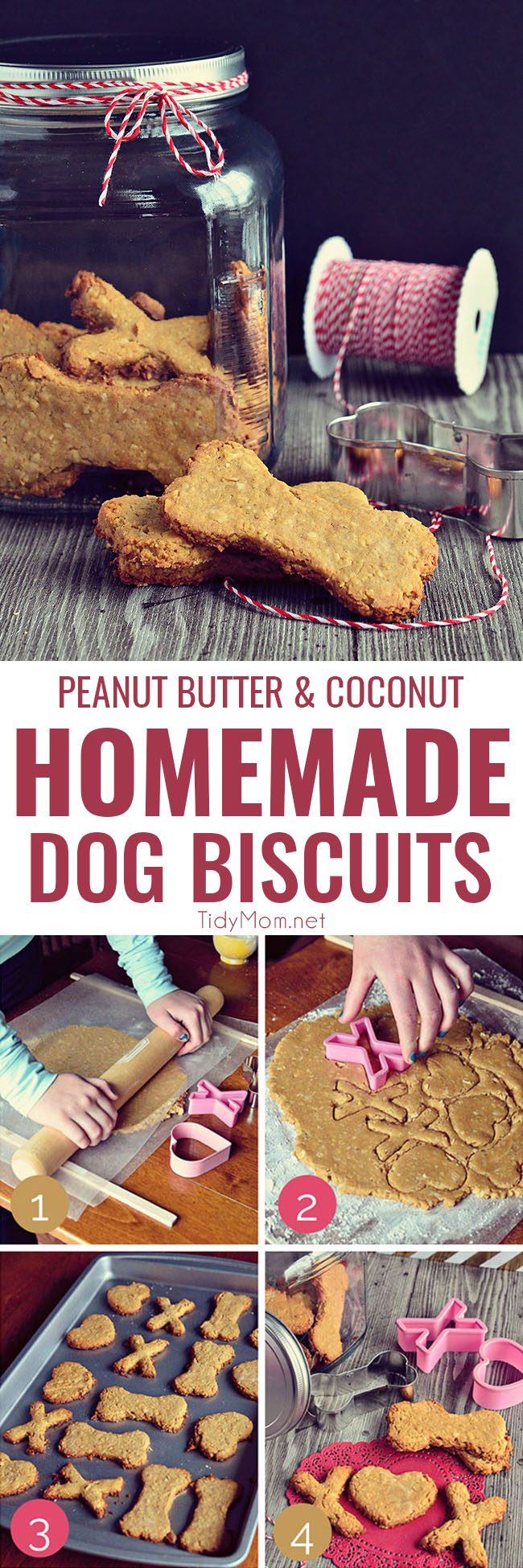 The four-legged friends in our lives aren't necessarily looking for the sweets that we indulge for birthdays and holidays, but their taste buds will thank you for these tail wagging good, Peanut Butter and Coconut Homemade Dog Biscuits.  Homemade dog biscuits are probably both cheaper and healthier than a lot that you'll find in stores. Get the recipe at TidyMom.net