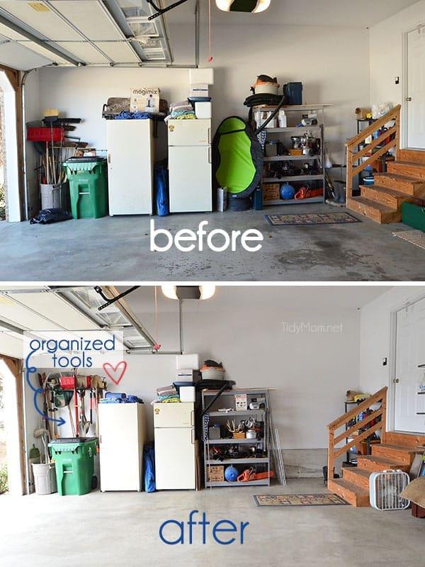 An organized garage using the Monkey Bars Garage Storage Systems at ...