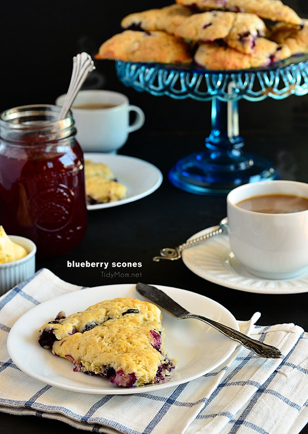 Homemade Blueberry Cream Scones recipe at TidyMom.net