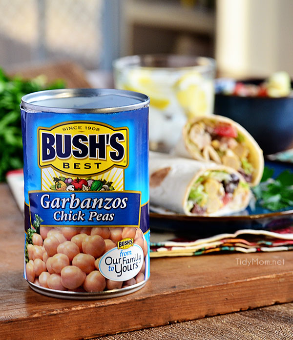 Bush's Garbanzo Beans, shredded chicken, feta cheese, tomatoes, and cucumbers are rolled in tortillas for a quick Greek-inspired lunch.