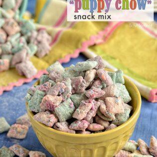 Cake Batter Puppy Chow snack mix recipe at TidyMom.net #yearofcelebrations