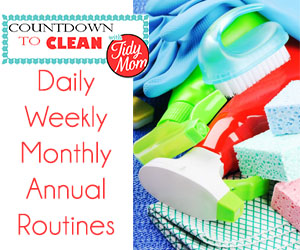 Countdown to Clean. Cleaning Tips at TidyMom.net that will get your house clean without back-breaking effort.  Remember, the more often you clean, the less build up you'll have.