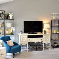 Family Room decor with Ikea VITTSJO bookcases at TidyMom.net