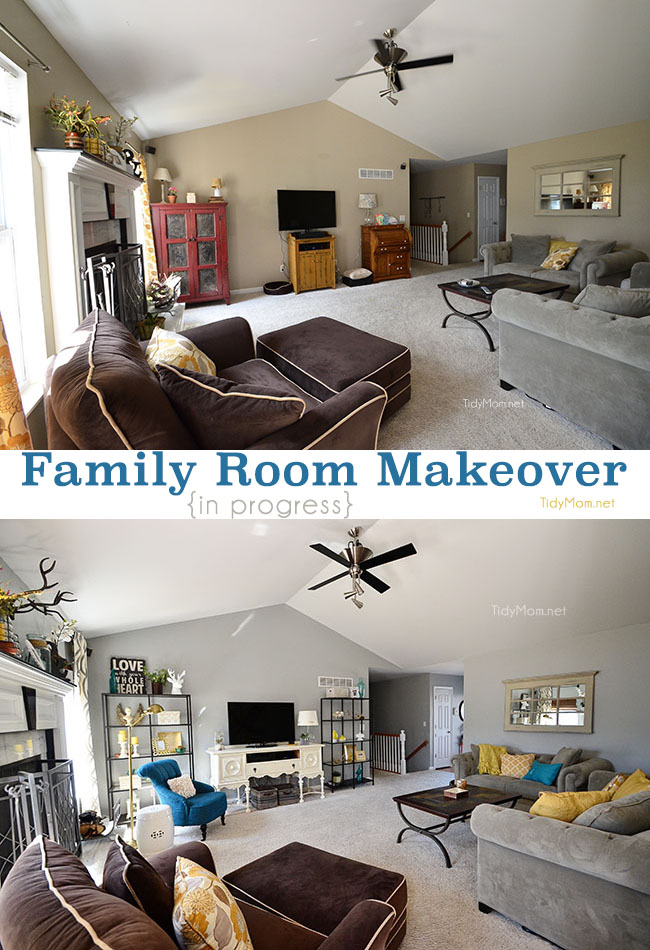 Family Room makeover progress at TidyMom.net