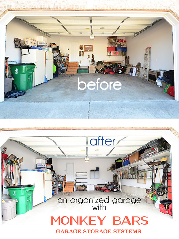 An organized garage using the Monkey Bars Garage Storage Systems at TidyMom.net