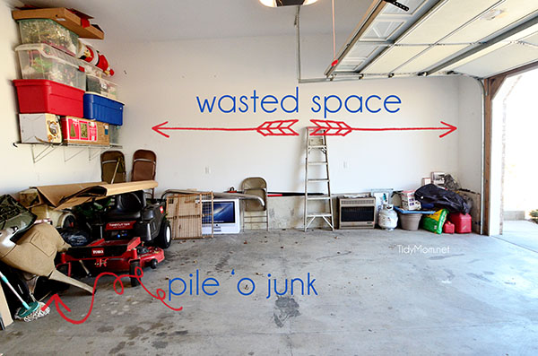 unorganized garage with wasted space
