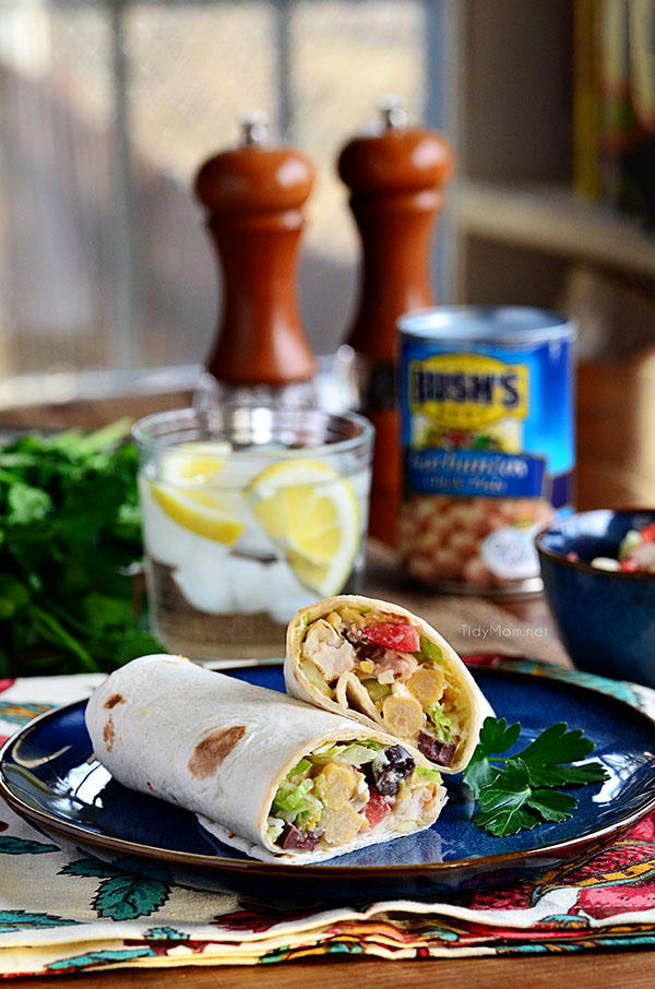 A quick Greek-inspired lunch. Greek Chicken Wrap recipe at TidyMom.net