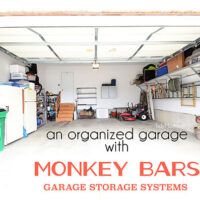 An organized garage using the Monkey Bars Garage Storage Systems at TidyMom.net