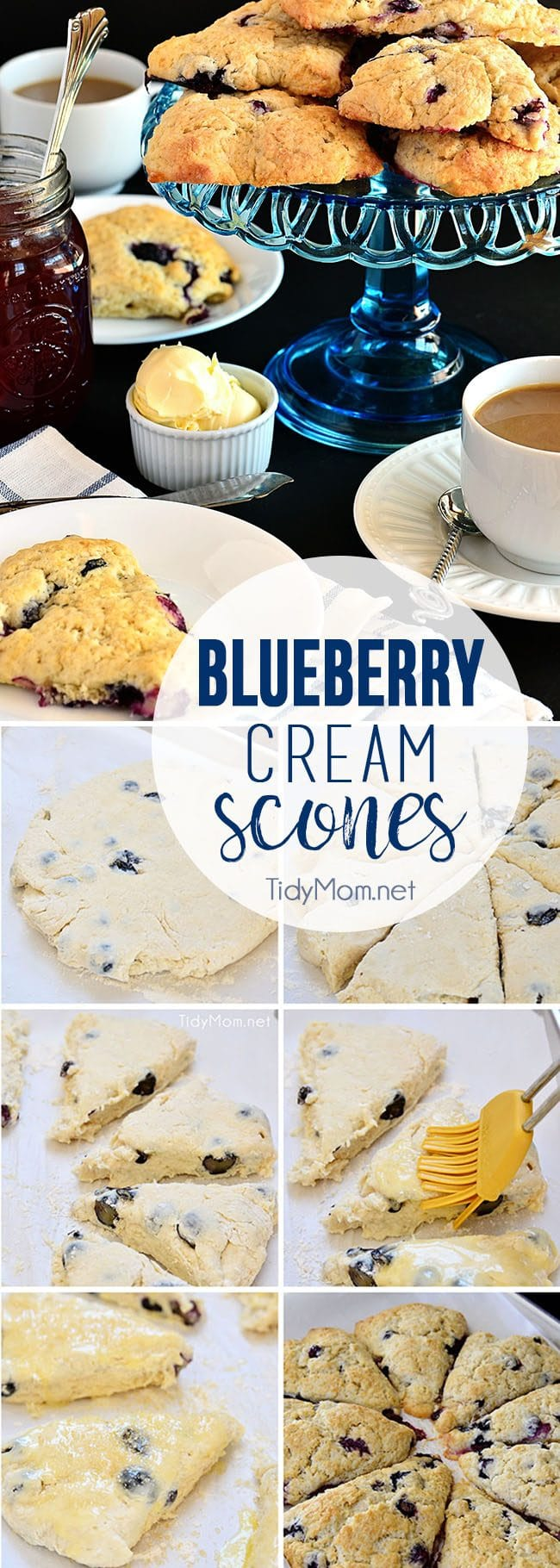 Blueberry Cream Scones really come together so quickly, you can have warm batch ready to devour while you clean up the kitchen and put on a pot of coffee! This recipe make 8 scones, but make a double batch and put half of them in the freezer to have on hand. Simply pop a frozen scone in the oven, to warm up, or if you're in a hurry, just wrap in a paper towel and microwave for about 20 seconds! Homemade Blueberry Cream Scones recipe at TidyMom.net