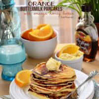 Orange Buttermilk Pancakes-light and fluffy pancakes with a hint of orange served with whipped orange honey butter make a perfect spring breakfast! recipe at TidyMom.net