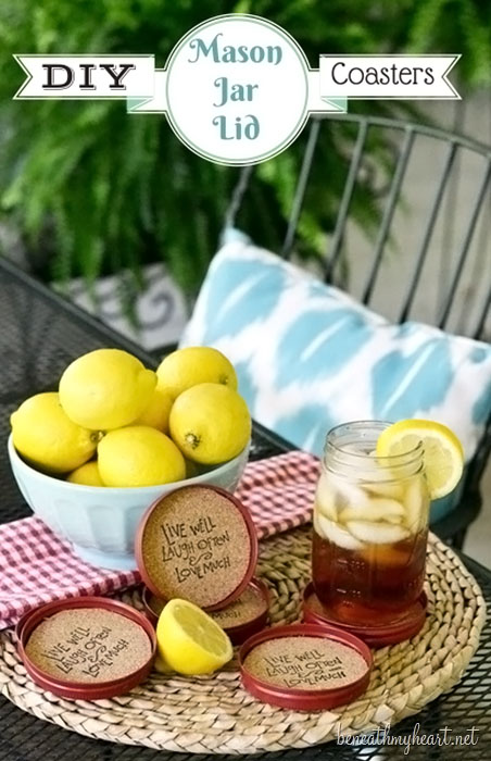 DIY Mason Jar Lid Coasters!  Find the tutorial at TidyMom.net