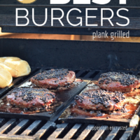 The Best Plank Grilled burgers. Recipe and video tutorial at TidyMom.net