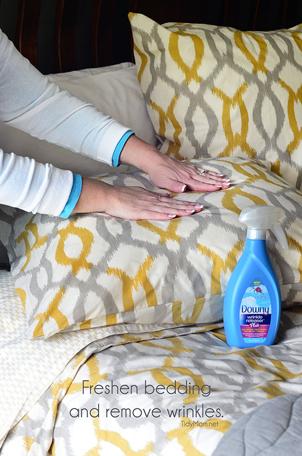 Freshen bedding and remove wrinkles with Downy Wrinkle Releaser Plus.  Learn more at TidyMom.net  #wondermoms