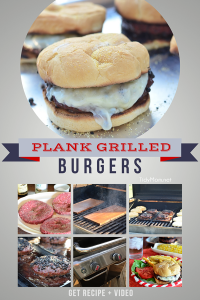 Plank Grilled burgers. Recipe and video tutorial at TidyMom.net