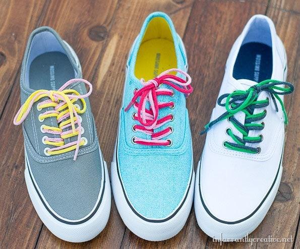 DIY upcycled teeshirt shoe laces