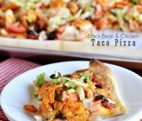 Chicken & Black Bean Taco Pizza recipe at TidyMom.net