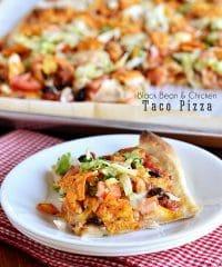 Chicken & Black Bean Taco Pizza recipe at TidyMom.net