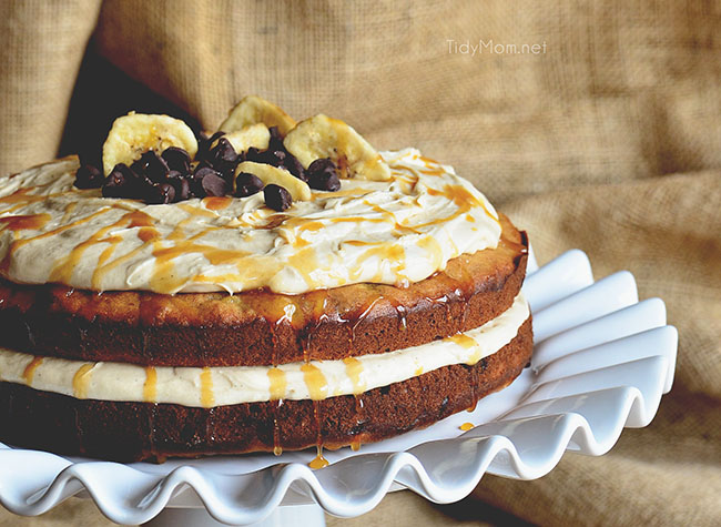 Chocolate Chip Banana Layer Cake with Salted Caramel Frosting
