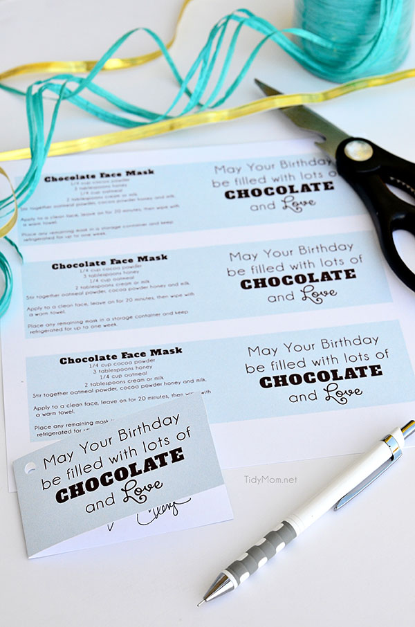 Chocolate Face Mask recipe gift tag {free printable} at TidyMom.net