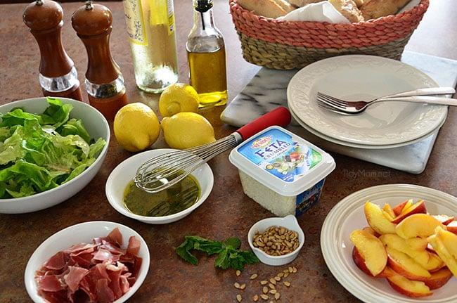 Feta, Peach & Prosciutto Salad ingredients.  Recipe at TidyMom.net