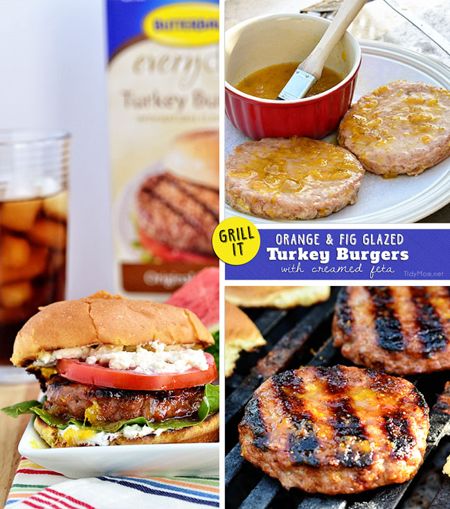 Orange and Fig Glazed Turkey Burgers with Creamed Feta recipe at TidyMom.net #Turketarian