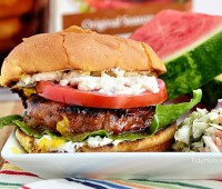 Fig and Orange Glazed Grilled Turkey Burgers with Creamed Feta recipe at TidyMom.net #Turketarian
