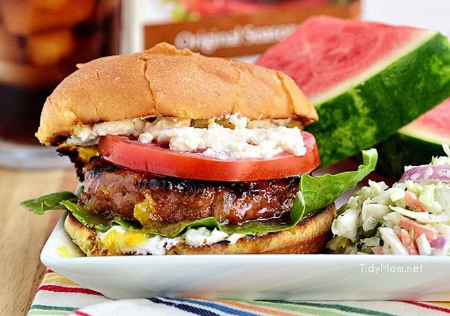 Fig and Orange Glazed Grilled Turkey Burgers with Creamed Feta recipe at TidyMom.net #Turketarian