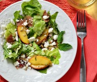 Summer on a fork! Feta, Peach & Prosciutto Salad ingredients. Recipe at TidyMom.net