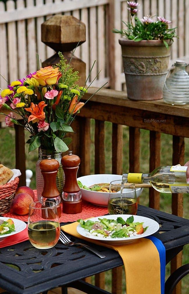 THE PERFECT SUMMER SALAD! Feta, Peach & Prosciutto Salad recipe at TidyMom.net