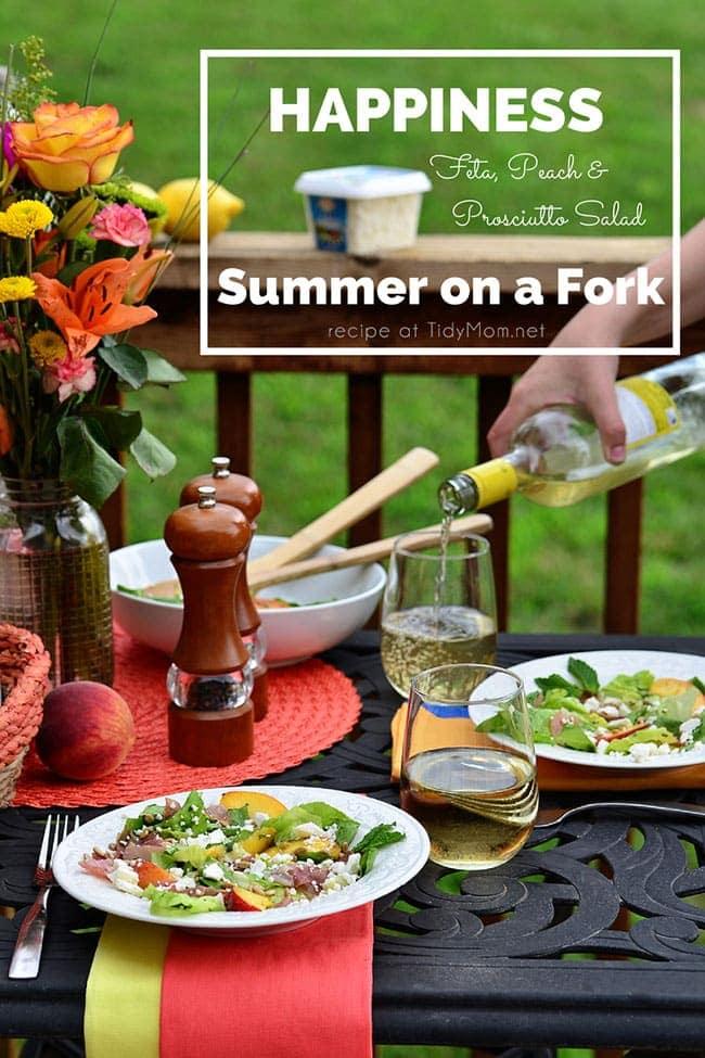 Feta, Peach & Prosciutto Salad recipe at TidyMom.net THE PERFECT SUMMER SALAD